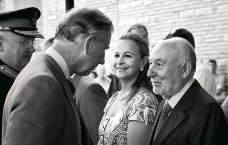 Julia and Victor Salvi with H.R.H. The Prince of Wales, during the delivery of the Royal Harp created by Salvi Harps in 2006